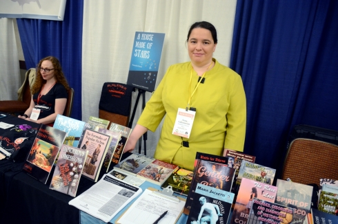 Anna Faktorovich at the Anaphora SIBA BookExpo table, by David Leone.