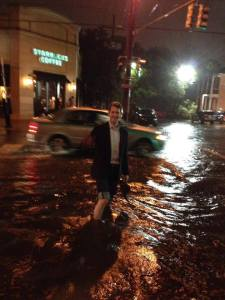Wading through an after dinner flood in New Orleans