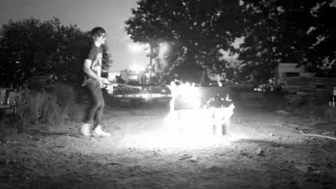 Fig 47 - Nick Koenig recording a mini house exploding