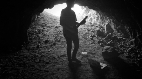 Fig 48 - Nick Koenig recording music in a cave